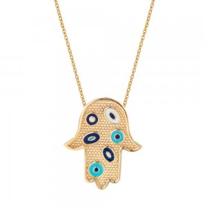 14K Solid Gold Enamel Evil Eye Hamsa Palm Necklace