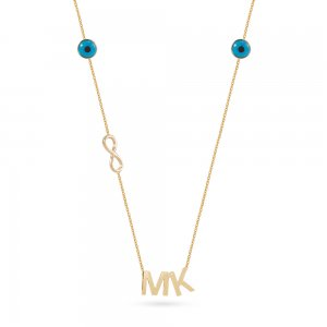 14K Solid Gold Initial Infinity Evil Eye Double Letter Necklace