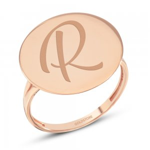 14K Solid Gold Initial Name Medallion Ring