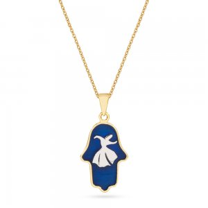 14K Solid Gold Enamel Hamsa Palm Whirling Dervish Necklace