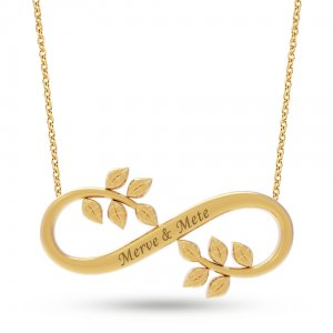 14K Solid Gold Name Infinity Leaf Necklace