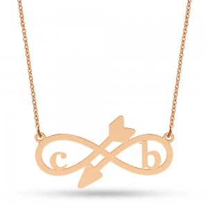 14K Solid Gold Initial Infinity Double Letter Necklace