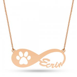 14K Solid Gold Name Infinity Paw Necklace