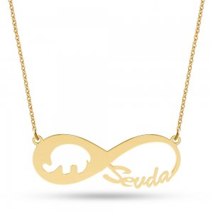 14K Solid Gold Name Infinity Elephant Necklace