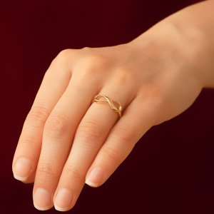 14K Solid Gold Infinity Ring