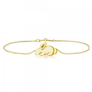 14K Solid Gold Modern Design Rabbit Bracelet