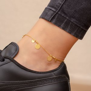 14K Solid Gold Ball Anklet