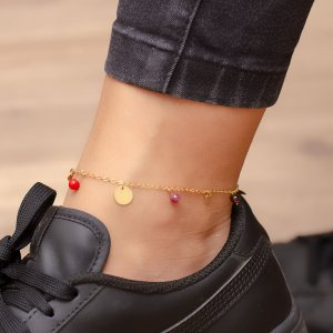 14K Solid Gold Turquoise Anklet