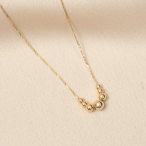 14K Solid Gold Ball Necklace
