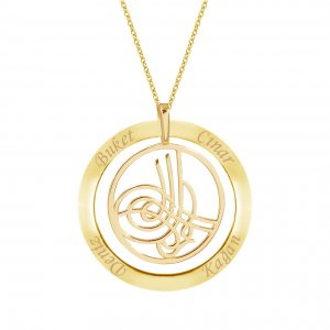 14K Solid Gold Ring Name Tugra Necklace