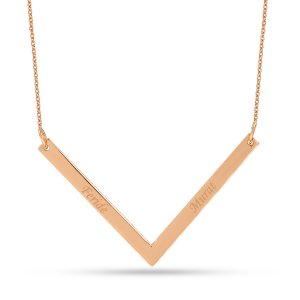14K Solid Gold Name 3D Bar Medallion Necklace