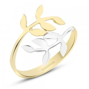 14K Solid Gold Leaf Ring