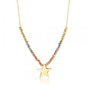 14K Solid Gold Drop Dangle Star Necklace
