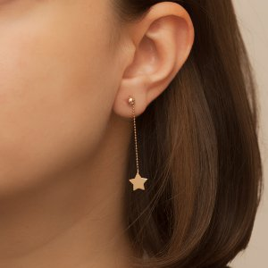 14K Solid Gold Drop Dangle Ball Star Earring