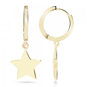 14K Solid Gold Star Earring