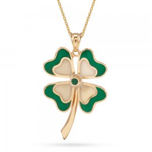 14K Solid Gold Enamel Clover Necklace