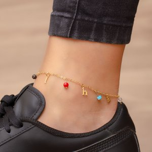 14K Solid Gold Initial Cubic Zirconia Anklet