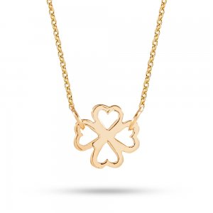 14K Solid Gold Clover Necklace