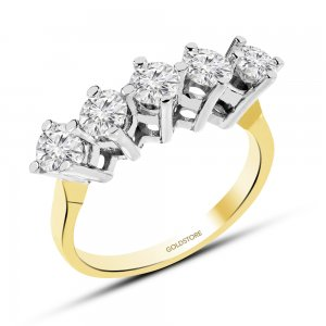 10K Solid Gold 5 Stones Cubic Zirconia Ring