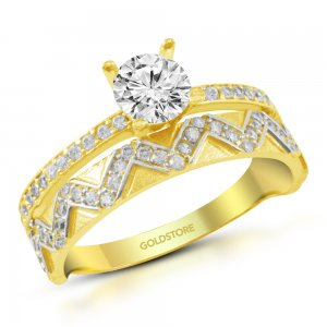 14K Solid Gold Solitaire Statement Cubic Zirconia Ring