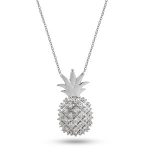 14K Solid Gold Ananas Cubic Zirconia Necklace