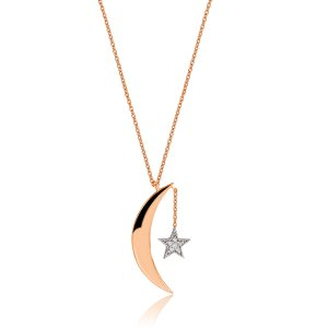 14K Solid Gold Modern Design Moon & Star Cubic Zirconia Necklace