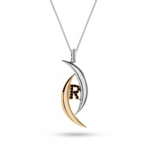14K Solid Gold Initial Moon Cubic Zirconia Necklace