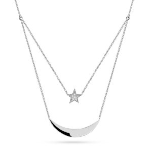 14K Solid Gold Moon & Star Cubic Zirconia Necklace