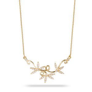 14K Solid Gold Modern Design Flower Cubic Zirconia Necklace