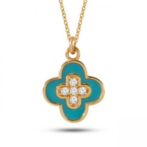 14K Solid Gold Enamel Flower Daisy Cubic Zirconia Necklace