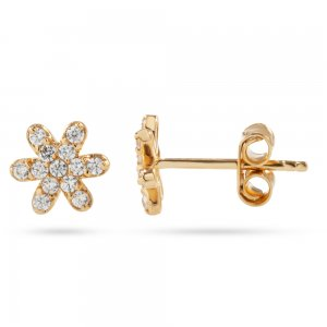 14K Solid Gold Flower Daisy Cubic Zirconia Earring