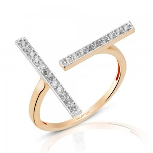 14K Solid Gold Modern Design Cubic Zirconia Ring