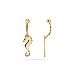 14K Solid Gold Modern Design Sea Horse Cubic Zirconia Piercing