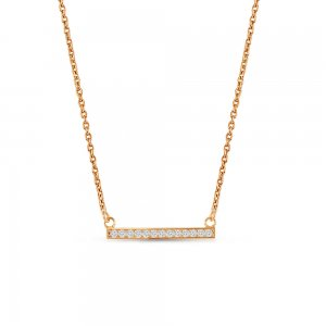 14K Solid Gold Modern Design 3D Bar Cubic Zirconia Necklace