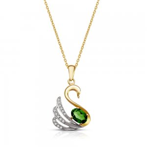 14K Solid Gold Modern Design Swan Cubic Zirconia Necklace