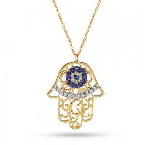 14K Solid Gold Evil Eye Hamsa Palm Cubic Zirconia Necklace