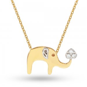 14K Solid Gold Elephant Cubic Zirconia Necklace