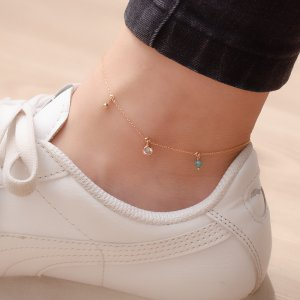 14K Solid Gold Drop Dangle Solitaire Like Ball Cubic Zirconia Anklet