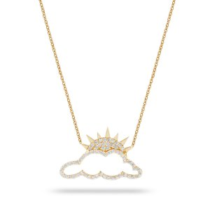 14K Solid Gold Modern Design Sun Clouds Cubic Zirconia Necklace