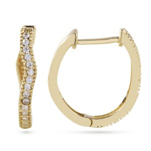 14K Solid Gold Ring Cubic Zirconia Earring