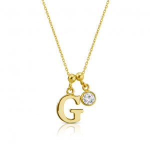 14K Solid Gold Initial Cubic Zirconia Necklace