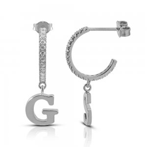 14K Solid Gold Modern Design Initial Cubic Zirconia Earring
