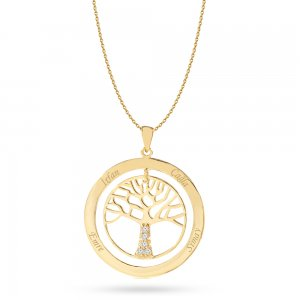 14K Solid Gold Name Life Tree Cubic Zirconia Necklace