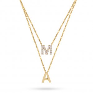 14K Solid Gold Initial Double Letter Cubic Zirconia Necklace