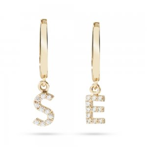 14K Solid Gold Initial Double Letter Cubic Zirconia Earring