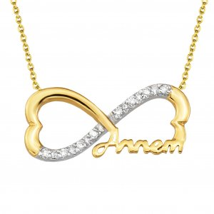10K Solid Gold Modern Design Heart Infinity Cubic Zirconia Necklace