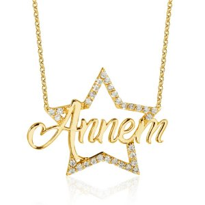 10K Solid Gold Modern Design Infinity Star Cubic Zirconia Necklace