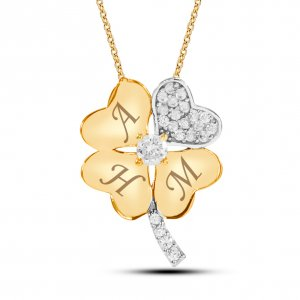 10K Solid Gold Modern Design Initial Heart Clover Cubic Zirconia Necklace