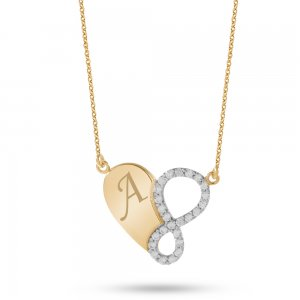 14K Solid Gold Initial Heart Infinity Cubic Zirconia Necklace