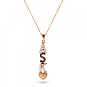 14K Solid Gold Initial Heart Cubic Zirconia Necklace